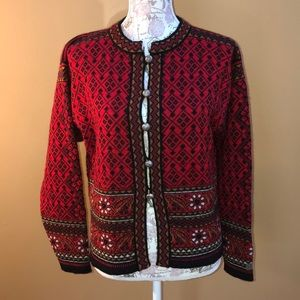 Dale of Norway Red Black Cardigan Sweater M